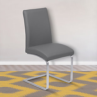 Blanca Dining Accent Chair in Gray Faux Leather with Brushed Stainless Steel Finish - Set of 2, Gray, rollover