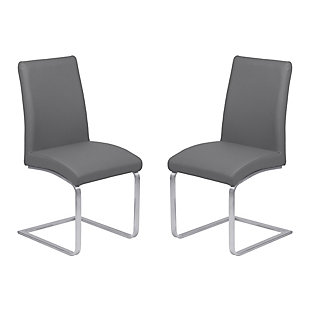 Blanca Dining Accent Chair in Gray Faux Leather with Brushed Stainless Steel Finish - Set of 2, Gray, large