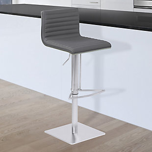 Café Adjustable Metal Barstool in Gray Faux Leather and Gray Walnut Wood Back, , rollover