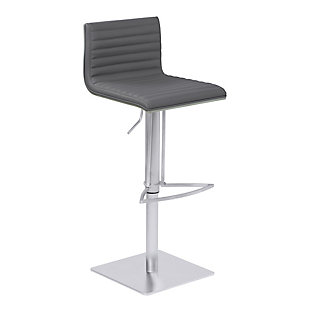 Café Adjustable Metal Barstool in Gray Faux Leather and Gray Walnut Wood Back, , large