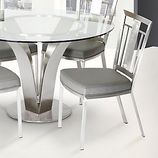 Cleo Dining Accent Chair In Gray and Stainless Steel - Set of 2, , rollover