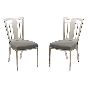 Cleo Dining Accent Chair In Gray and Stainless Steel - Set of 2, , large