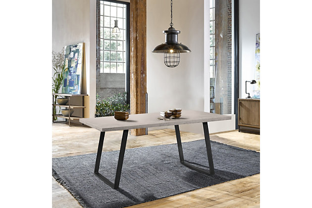Coronado Contemporary Dining Table in Gray Powder Coated Finish with Cement Gray Top, , large