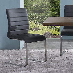 Fusion Side Chair In Gray and Stainless Steel - Set of 2, Gray, rollover