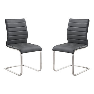 Fusion Side Chair In Gray and Stainless Steel - Set of 2, Gray, large