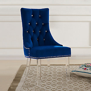 Gobi Tufted Dining Chair in Blue Velvet with Acrylic Legs, Blue, rollover