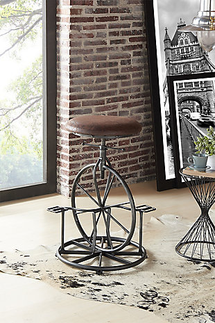 Harlem Adjustable Industrial Metal Bicycle Barstool in Industrial Gray finish with Wrangler Fabric, Wrangler, rollover
