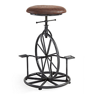 Harlem Adjustable Industrial Metal Bicycle Barstool in Industrial Gray finish with Wrangler Fabric, Wrangler, large