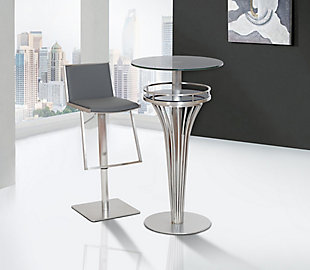 Ibiza Adjustable Brushed Stainless Steel Barstool in Gray Faux Leather, , rollover
