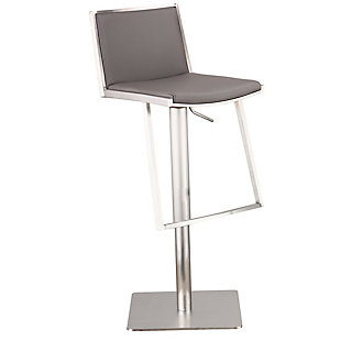 Ibiza Adjustable Brushed Stainless Steel Barstool in Gray Faux Leather, , large