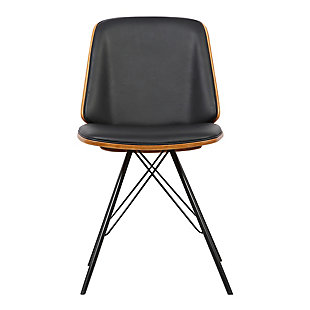 Inez Dining Chair in Black Faux Leather with Black Powder Coated Metal Legs and Walnut Veneer Back, Black, large