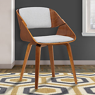 Ivy Mid-Century Dining Chair in Gray Fabric with Walnut Wood, Gray, rollover