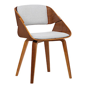 Ivy Mid-Century Dining Chair in Gray Fabric with Walnut Wood, Gray, large