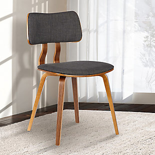 Jaguar Mid-Century Dining Chair in Walnut Wood and Charcoal Fabric, Charcoal, rollover