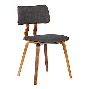 Jaguar Mid-Century Dining Chair in Walnut Wood and Charcoal Fabric, Charcoal, large