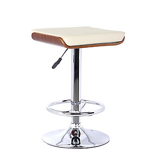 Jayden Barstool in Chrome finish with Walnut wood and Cream Faux Leather, Cream, large