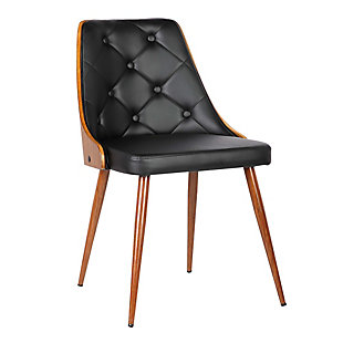 Lily Dining Chair in Walnut Finish and Black Faux Leather, Black, large