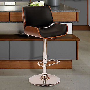 London Swivel Barstool In Black Faux Leather Walnut Veneer and Chrome Base, Black, rollover