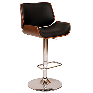 London Swivel Barstool In Black Faux Leather Walnut Veneer and Chrome Base, Black, large