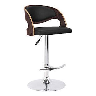Malibu Swivel Barstool In Black Faux Leather Walnut Veneer and Chrome Base, Black, large