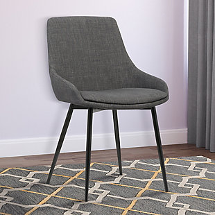 Mia Dining Chair in Charcoal Fabric with Black Powder Coated Metal Legs, Charcoal, rollover
