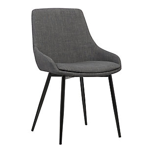 Mia Dining Chair in Charcoal Fabric with Black Powder Coated Metal Legs, Charcoal, large