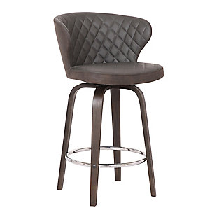 """Mynette 30"""" Swivel Brown Faux Leather Bar Stool, Brown, large"""