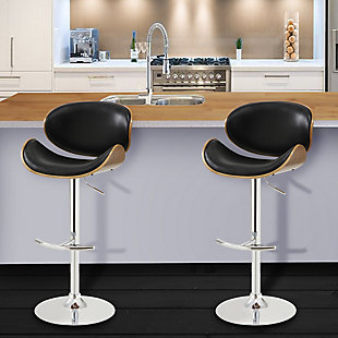 Naples Swivel Barstool in Chrome finish with Black Faux Leather and Walnut Veneer Back, Black, rollover