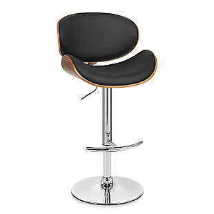 Naples Swivel Barstool in Chrome finish with Black Faux Leather and Walnut Veneer Back, Black, large