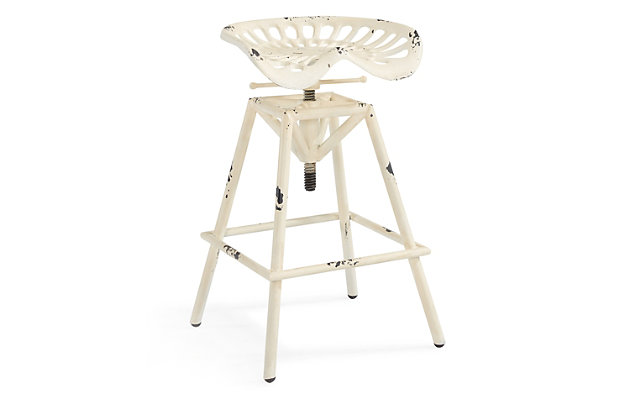 Osbourne Adjustable Industrial Metal Barstool in Antique White finish, Antique White, large