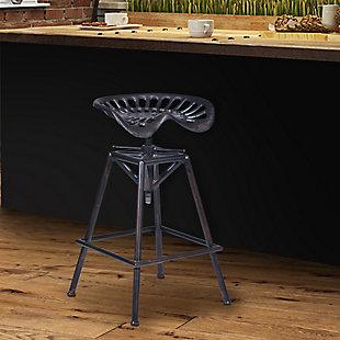 Osbourne Adjustable Barstool in Industrial Copper Metal finish, Black, rollover