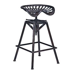 Osbourne Adjustable Barstool in Industrial Copper Metal finish, Black, large