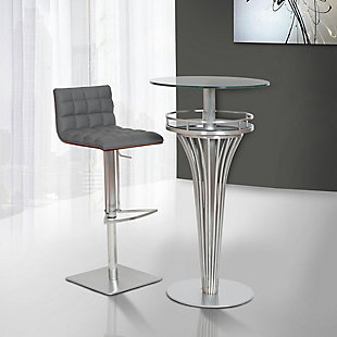 Oslo Adjustable Brushed Stainless Steel Barstool in Gray Faux Leather with Walnut Back, , rollover