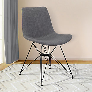 Palmetto Dining Chair in Charcoal Fabric with Black Metal Legs, Charcoal, rollover