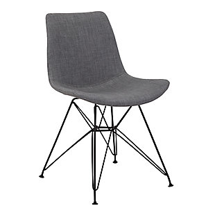Palmetto Dining Chair in Charcoal Fabric with Black Metal Legs, Charcoal, large