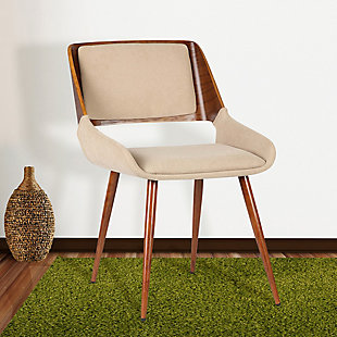 Panda Dining Chair in Walnut Finish and Brown Fabric, Brown, rollover