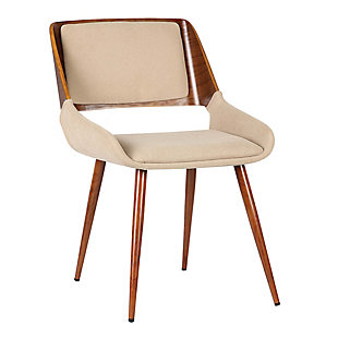 Panda Dining Chair in Walnut Finish and Brown Fabric, Brown, large
