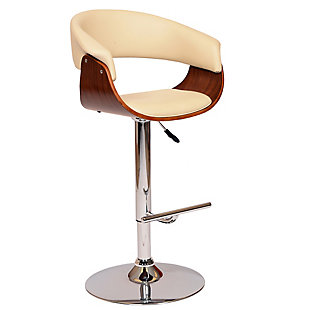 Paris Swivel Barstool In Cream Faux Leather Walnut Veneer and Chrome Base, Cream, large