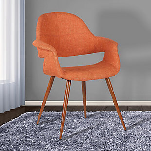Phoebe Dining Chair in Walnut Finish and Orange Fabric, Orange, rollover