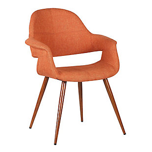Phoebe Dining Chair in Walnut Finish and Orange Fabric, Orange, large