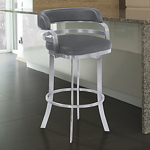 """Prinz 26"""" Swivel Barstool in Gray Faux Leather with Brushed Stainless Steel Finish, Gray, large"""