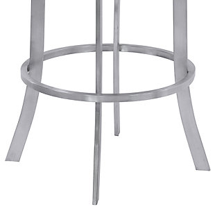 """Prinz 26"""" Swivel Barstool in Black Faux Leather with Brushed Stainless Steel Finish, Black, large"""
