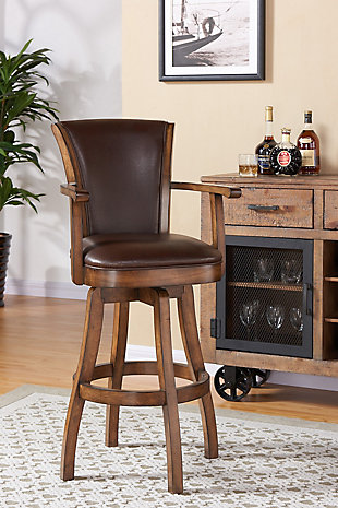 """Raleigh Arm 30"""" Bar Height Swivel Wood Barstool in Chestnut Finish and Kahlua Faux Leather, Brown, rollover"""