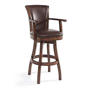 """Raleigh Arm 30"""" Bar Height Swivel Wood Barstool in Chestnut Finish and Kahlua Faux Leather, Brown, large"""