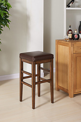 """Sonata 26"""" Counter Height Wood Backless Barstool in Chestnut Finish and Kahlua Faux Leather, , rollover"""