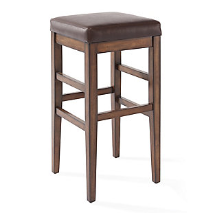 """Sonata 26"""" Counter Height Wood Backless Barstool in Chestnut Finish and Kahlua Faux Leather, , large"""