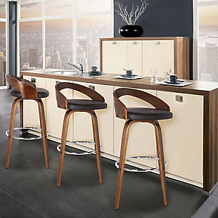 """Sonia 26"""" Counter Height Barstool in Walnut Wood Finish with Brown Faux Leather, Brown, rollover"""