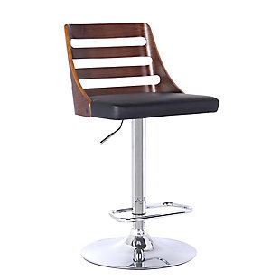 Storm Barstool in Chrome finish with Walnut wood and Black Faux Leather, Black, large