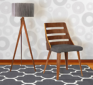 Storm Dining Chair in Walnut Wood and Charcoal Fabric, Charcoal, rollover