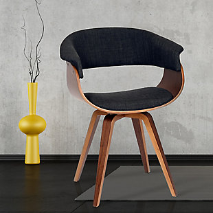 Summer Chair In Charcoal Fabric and Walnut Wood, Charcoal, rollover